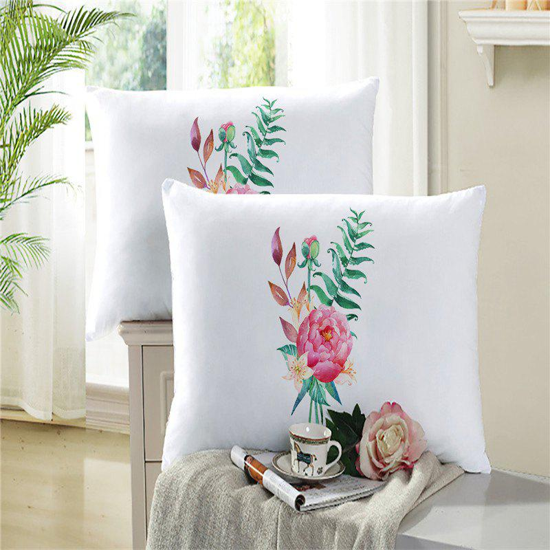Embroidered and Painted Series Pattern Leaf Design Fresh  Comfortable High Grade Bedding - WHITE KING