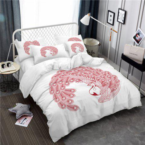 Embroidered Feather Series Four Pieces of Bedding - WHITE KING