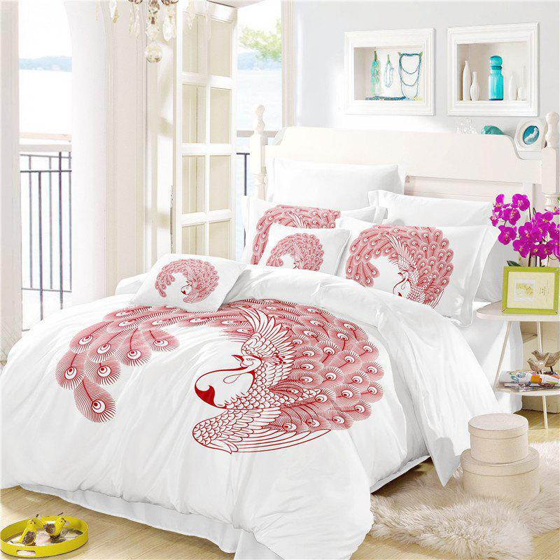 Embroidered Feather Series Four Pieces of Bedding - WHITE QUEEN