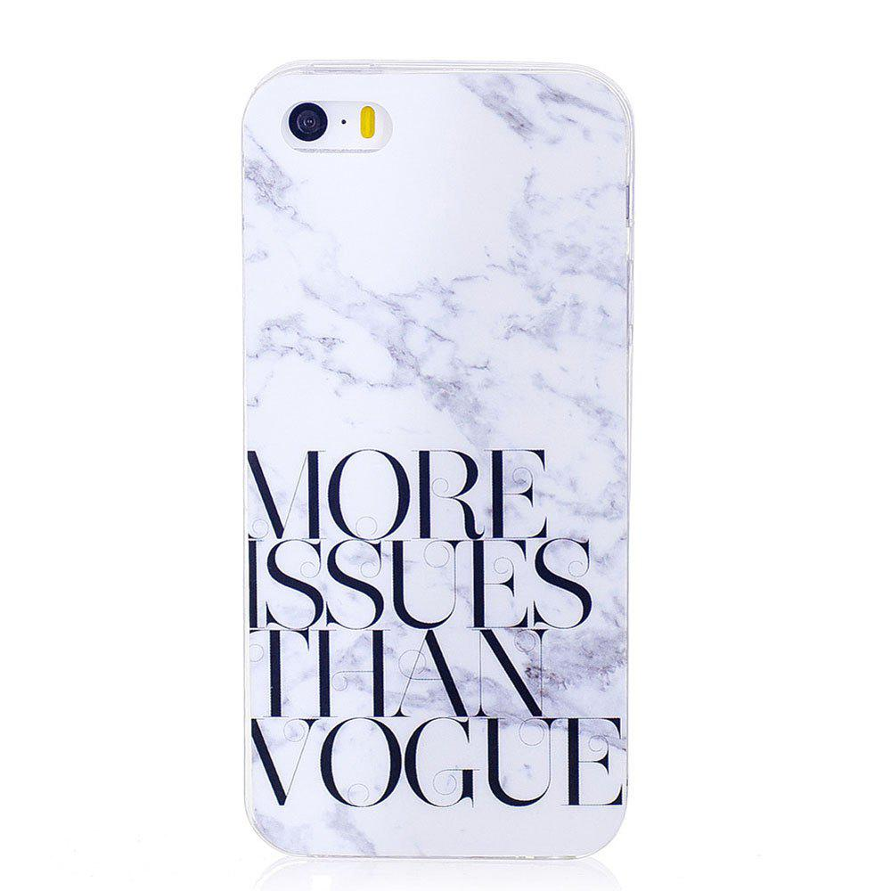 TPU Soft Case for iPhone 5 / 5S / SE Letter Marble Style Back Cover - WHITE