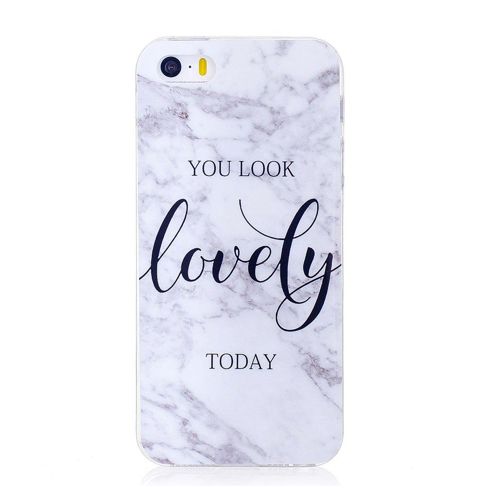 TPU Soft Case for iPhone 5 / 5S / SE Lovely You Marble Style Back Cover - WHITE