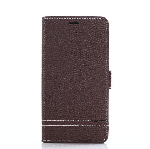 Lichi Grain Wallet Style PU Leather Case for Xiaomi Redmi Note 4X 32GB with Stand Function and Card Holder - DEEP BROWN