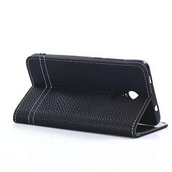 Lichi Grain Wallet Style PU Leather Case for Xiaomi Redmi Note 4X 32GB with Stand Function and Card Holder - BLACK