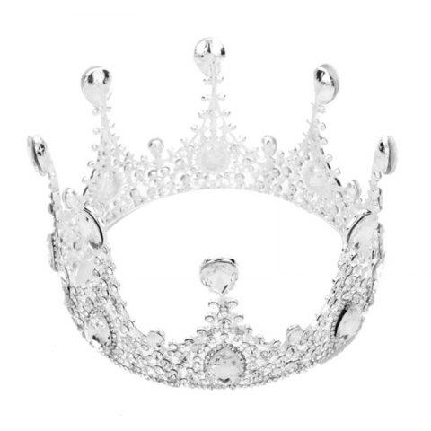 Silver Women Round Crown Crystal Rhinestone Bride Hair Jewelry Hair Accessories Tiara for Bridemaid - SILVER