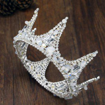 Silver Round Crown Crystal Rhinestone Bride Hair Jewelry Hair Accessories Tiara for Bridemaid - SILVER