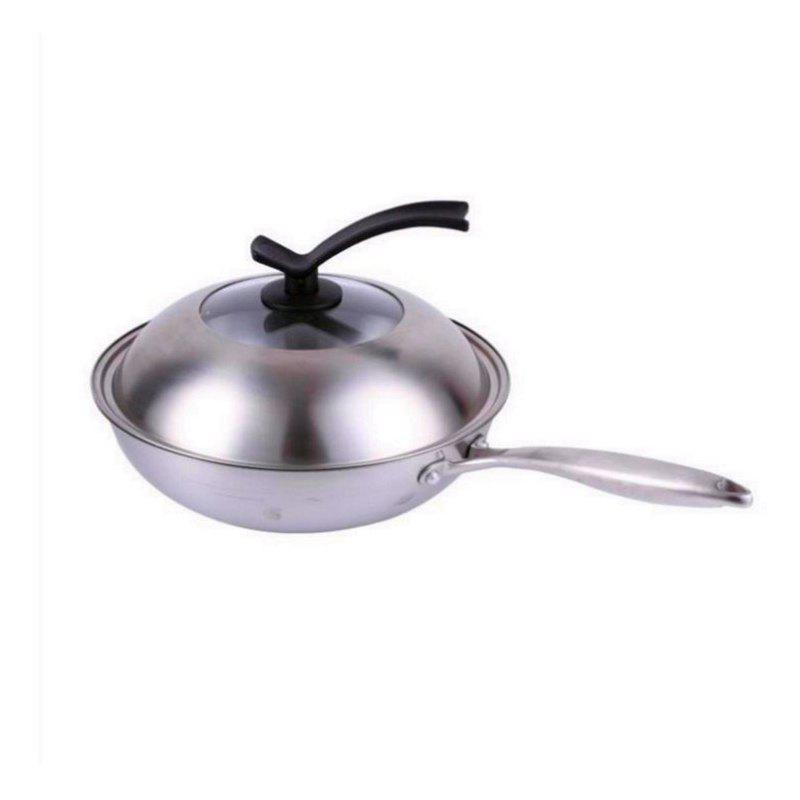 Stainless Steel Fry Pan Three Layers Of Steel Without Oil Smoke Stove Uncoated Non Stick Pan High Grade Frying Pan - SILVER