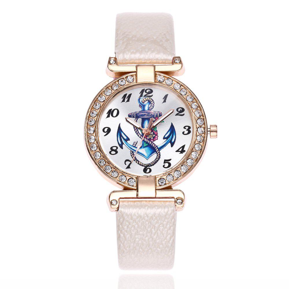 Khorasan Ship Anchor Classic Digital Leisure Belt Quartz Watch - WHITE