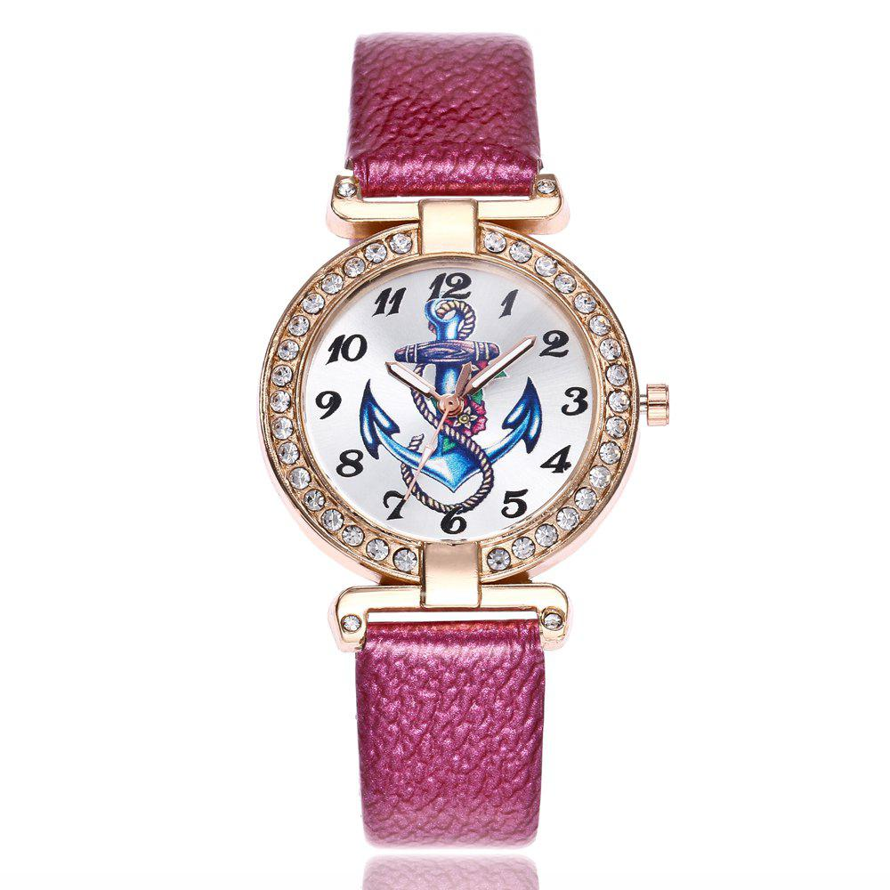 Khorasan Ship Anchor Classic Digital Leisure Belt Quartz Watch - ROSE RED