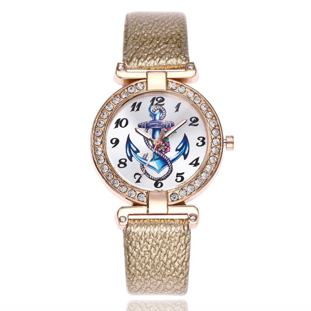 Khorasan Ship Anchor Classic Digital Leisure Belt Quartz Watch - GOLDEN