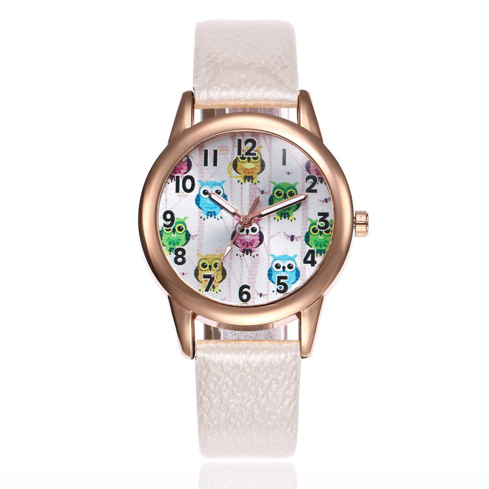 Khorasan Classic Digital Fashion Lady Owl Belt Watch - WHITE