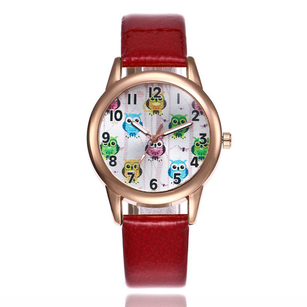 Khorasan Classic Digital Fashion Lady Owl Belt Watch - RED