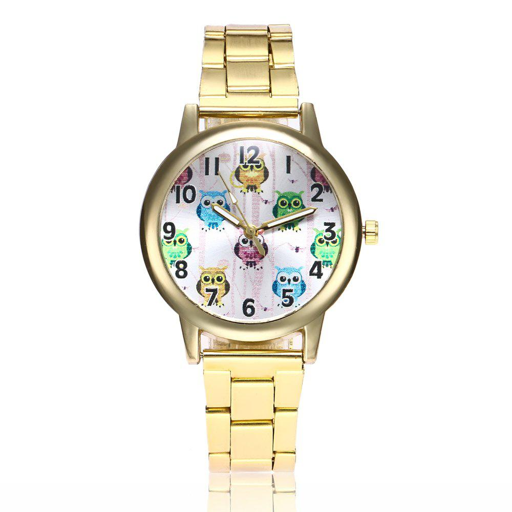 Khorasan Cute Cartoon Owl Digital Alloy Steel Belt Quartz Watch - GOLDEN