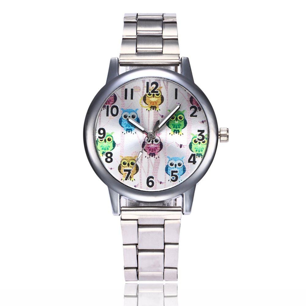 Khorasan Cute Cartoon Owl Digital Alloy Steel Belt Quartz Watch - SILVER