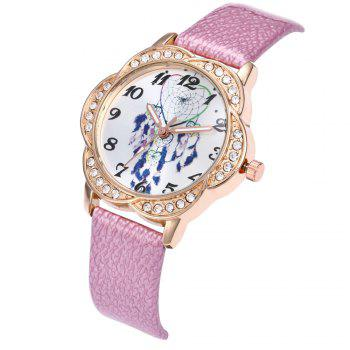 Khorasan Individual Feather Bell-Flower Head Belt Quartz Watch - PINK