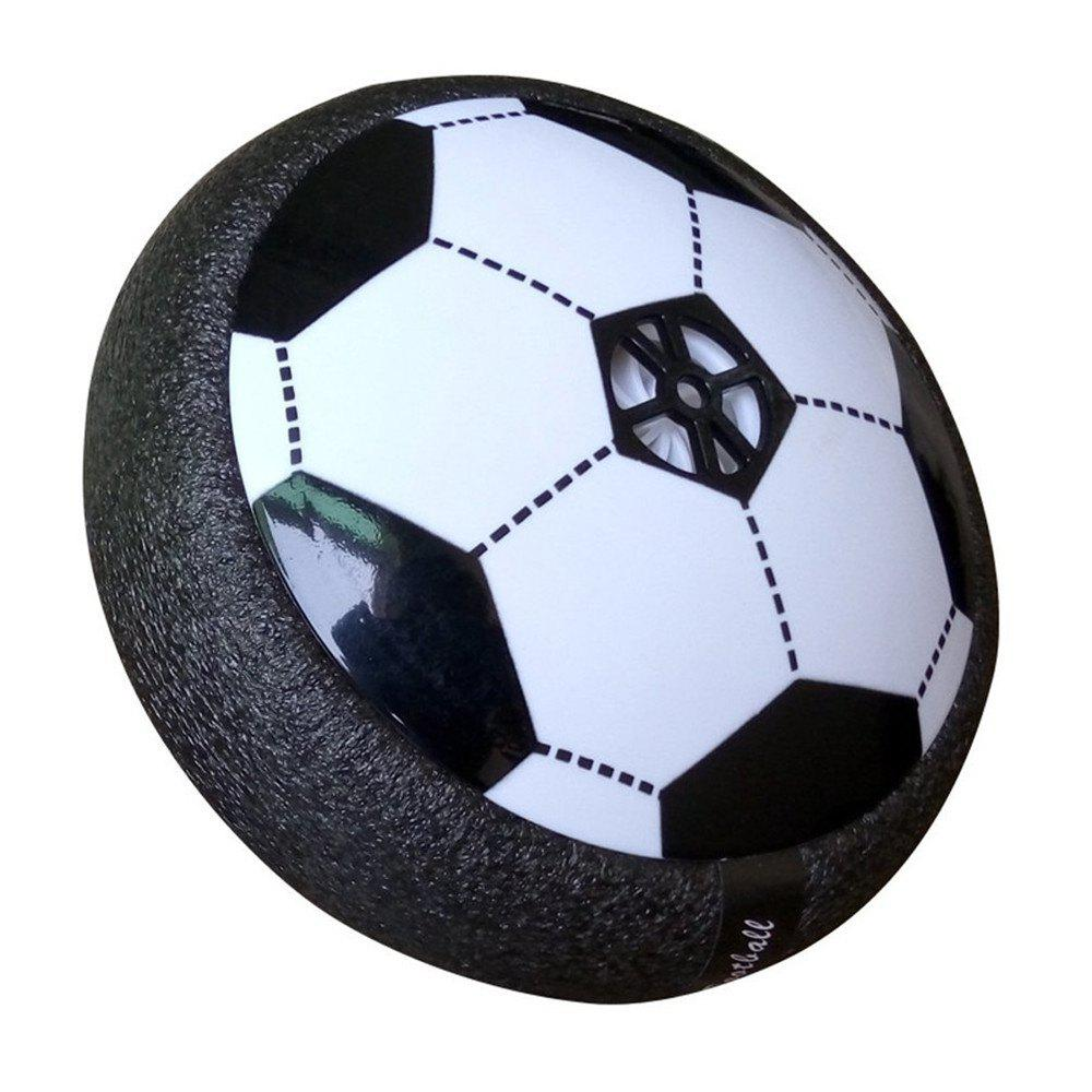 Kids Toys Hover Ball Air Power Floating Soccer LED Training Football with Foam Bumpers for Outdoor Indoor Games - BLACK WHITE