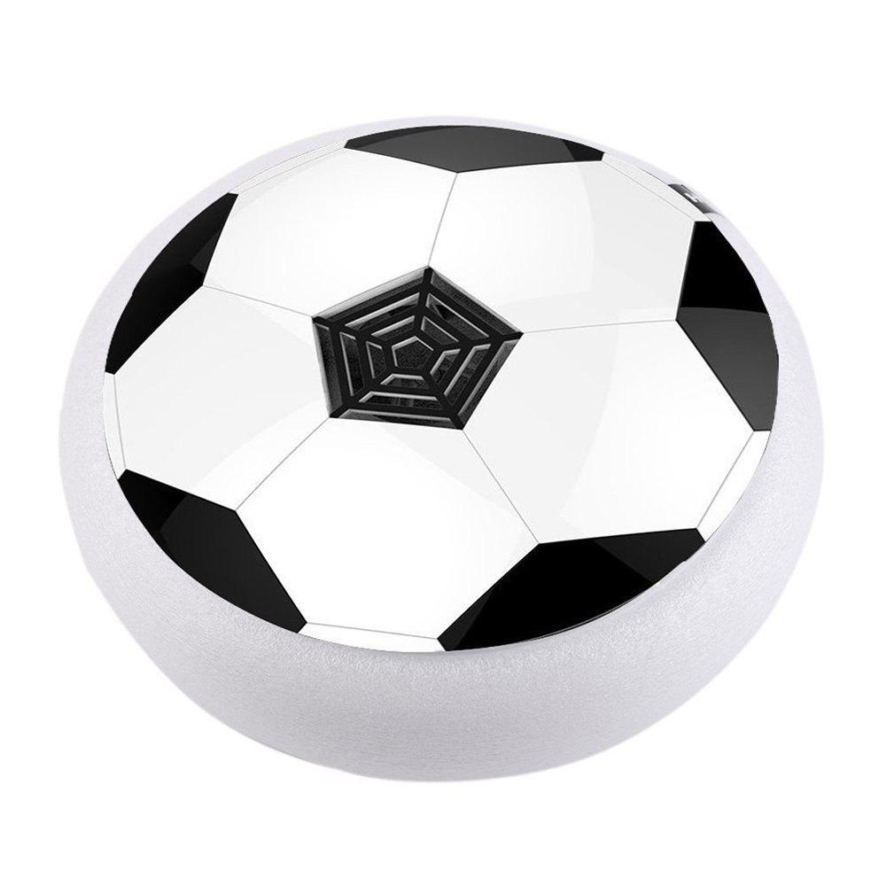 Kids Toys Hover Ball Air Power Floating Soccer LED Training Football with Foam Bumpers for Outdoor Indoor Games - WHITE