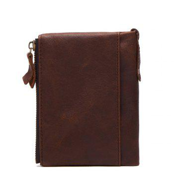 Anti-Theft Brush Leather Short Men's Wallet - DARK COFFEE