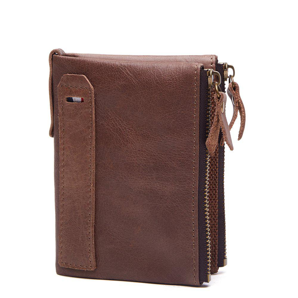 Anti-Theft Brush Leather Short Men's Wallet - LIGHT COFFEE