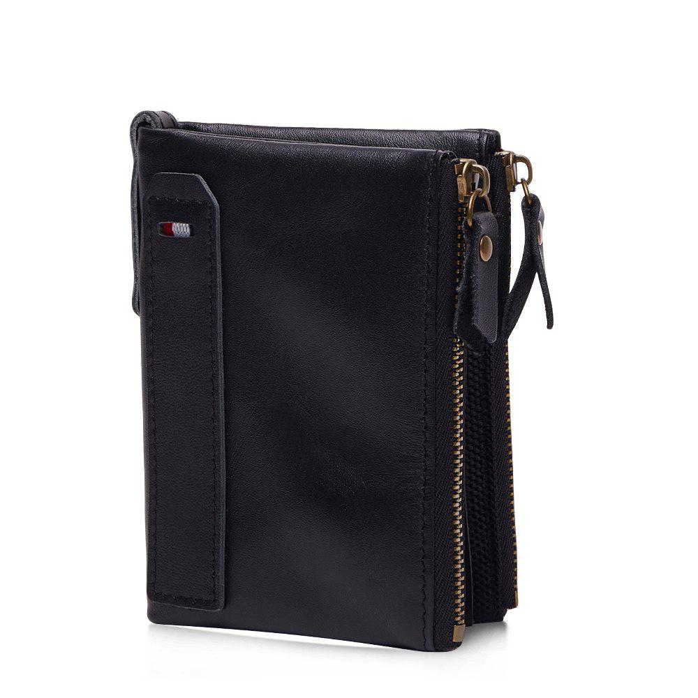Anti-Theft Brush Leather Short Men's Wallet - BLACK