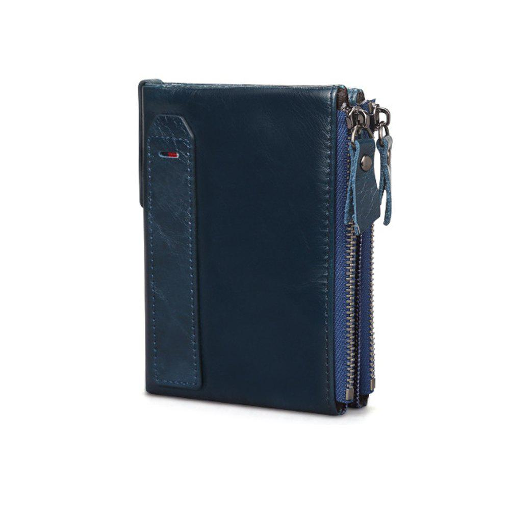Anti-Theft Brush Leather Short Men's Wallet - BLUE