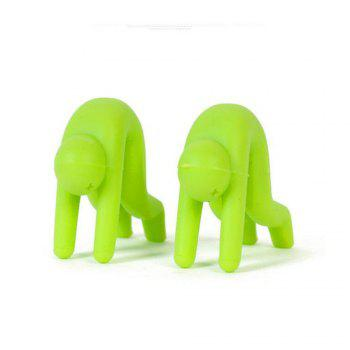 2Pcs Creative Little  Shaped Silicone Spill-proof Raising Pot Cover Cooking Anti-overflowing Tools Cell Phone Holder - GREEN