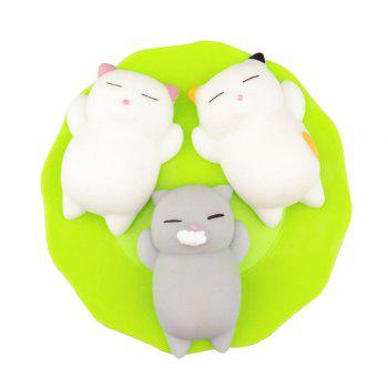 Kawaii Slow Rising Soft Squishy Squeeze Cute Mini Cat Stress Reliever Decompression Toy for Kids Fidget Gift 3PCS - COLORMIX COLORMIX