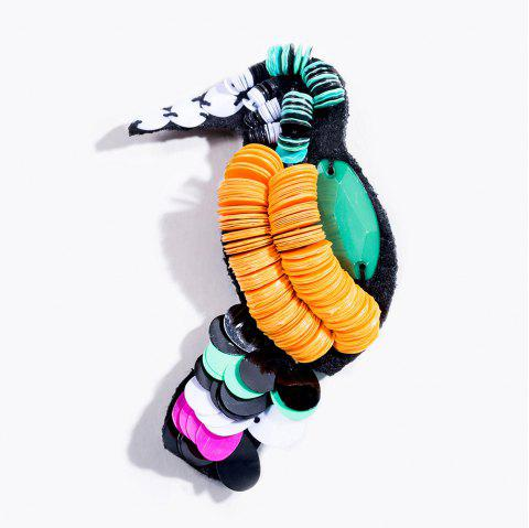 Beautiful Acrylic Sequins Woodpecker Bird Brooch For Women Costume Jewelry Fashion Animal Big Lapel Pins and Brooches - COLORMIX
