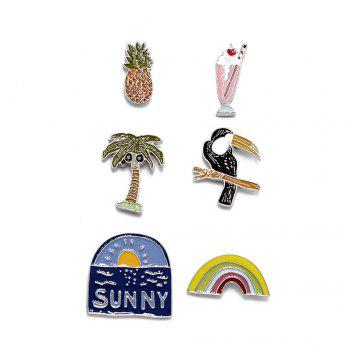 Hot Spring Summer Brooch Set Lovely Enamel Flower Brooch Sunny Insect Rainbow 6PCS Set Brooches Women Jewelry - COLORMIX