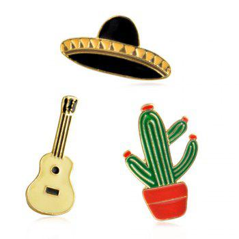 Potted Plants Cactus Guitar Spaceship Brooch for Girls Cartoon Children Bag Backpack Clothing Pin Badge Button Pin Ename - GREEN GREEN
