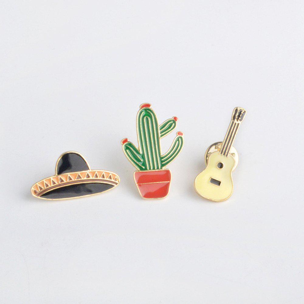 Potted Plants Cactus Guitar Spaceship Brooch for Girls Cartoon Children Bag Backpack Clothing Pin Badge Button Pin Ename - GREEN