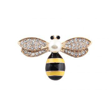 10 Designs New Honeybee with Crystal Design Brooches Lovely Bee Insect Pins for Women Jewelry New Year Gift - BLACK WHITE BLACK WHITE