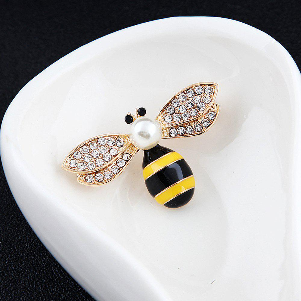 10 Designs New Honeybee with Crystal Design Brooches Lovely Bee Insect Pins for Women Jewelry New Year Gift - BLACK WHITE