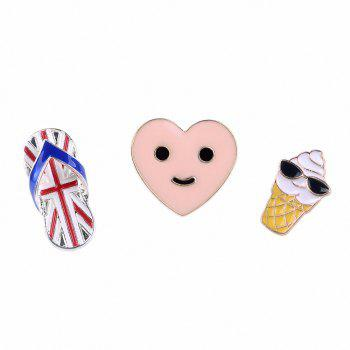 New Slipper Enamel Brooch Set Cute Smiling Face Heart Balloon Frosted Cloud Brooch Necklace Women Jewelry Gift - COLORMIX