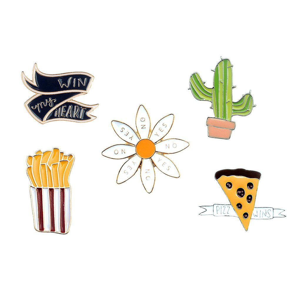 Chips Cactus Pizza Icon Animated Brooches Set Brooch of A Scarf and Clothes As Women Jewelry Gift - COLORMIX