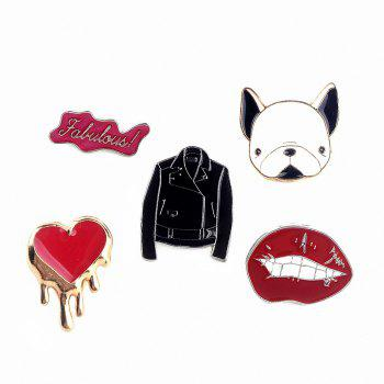 Cute Dog Enamel Set Brooch Pins Red Heart Lips Pattern Fur Badges Broches Women Jewelry for Jacket - COLORMIX COLORMIX