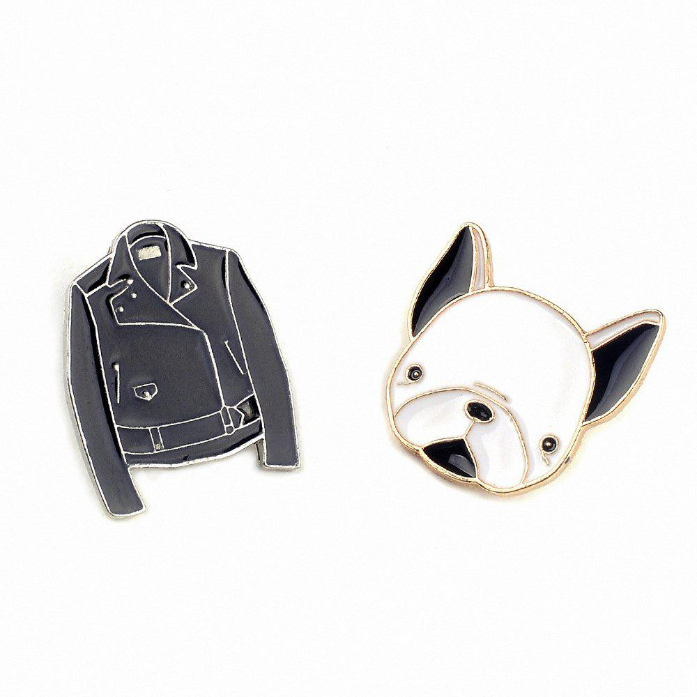Cute Dog Enamel Set Brooch Pins Red Heart Lips Pattern Fur Badges Broches Women Jewelry for Jacket - COLORMIX
