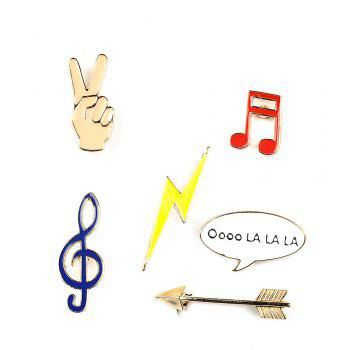 Victory Music Note Lightning Arrow Brooch Button Pins Jacket Denim Pin Badge Gift Fashion Jewelry for Women Men - COLORMIX COLORMIX