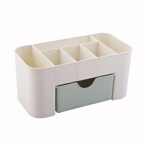 Solid Color Home Multi-Use Jewelry Cosmetic Storage Plastic Box with Small Drawer Desk - GREEN