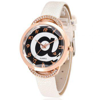 REEBONZ Fashion Lady Diamond Personality @ Dial quartz Watch - WHITE