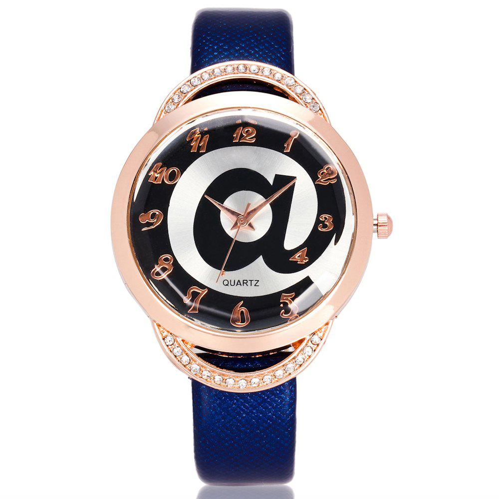 REEBONZ Fashion Lady Diamond Personality @ Dial quartz Watch - BLUE