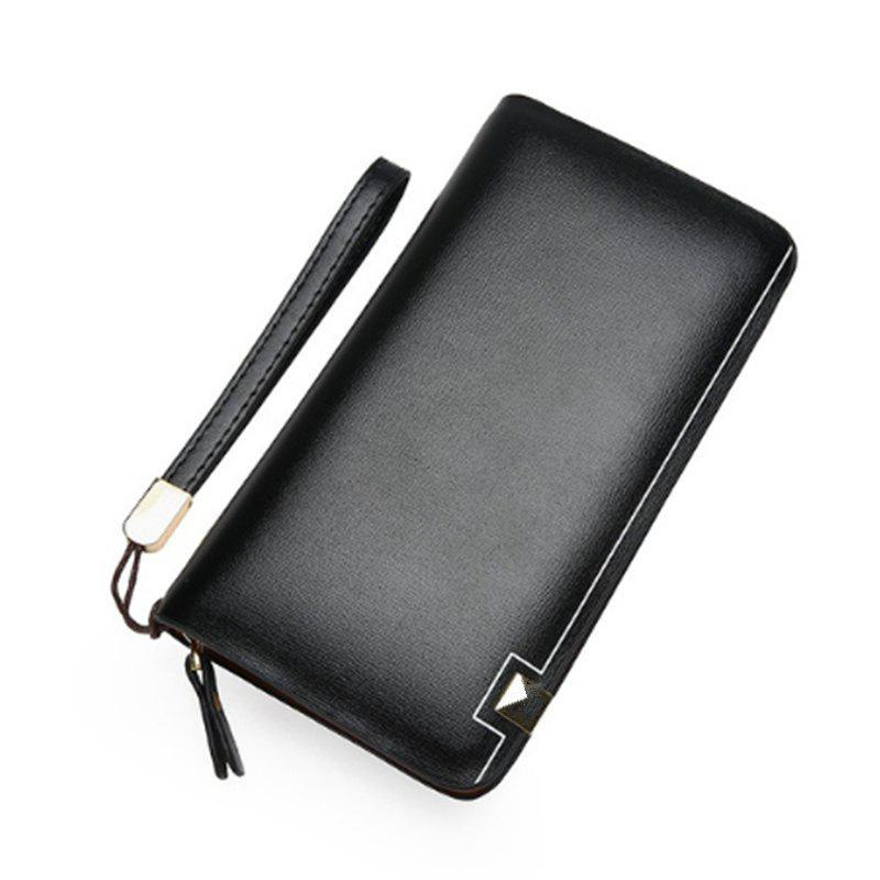 Men'S Wallet Man'S Large Capacity Clutch Bag - BLACK