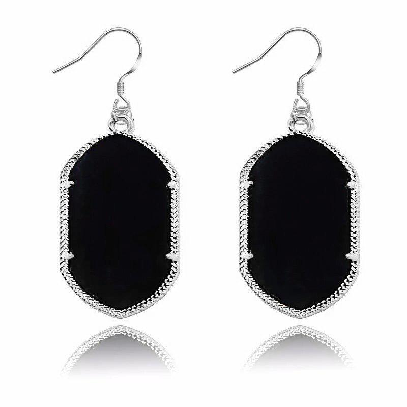 European and American Silver Side Plain Simple Fashion Geometric Pendant Earrings for Woman modern simple european style dining room lighting american hollow carved iron bedroom pendant lights