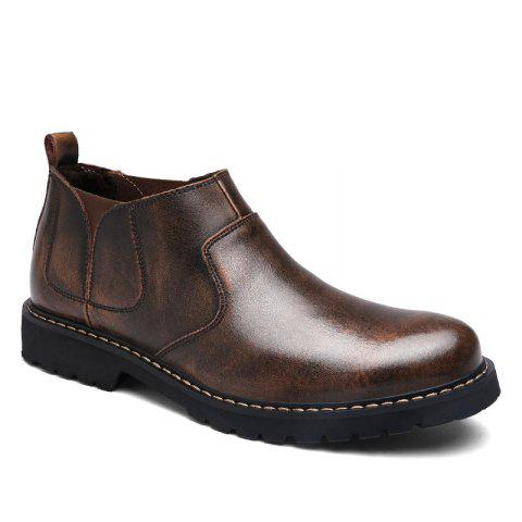 Four Seasons Leather Rubber Sole Men Casual Shoes Fashion - BROWN 42