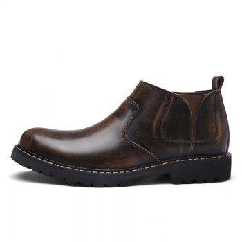 Four Seasons Leather Rubber Sole Men Casual Shoes Fashion - BROWN 43