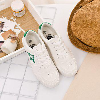 Women Canvas Lacing Design Star Pattern Casual Flat Shoes - IVY 38