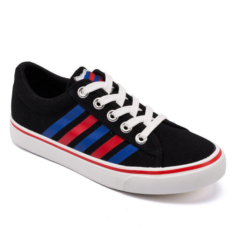Women Casual Fresh Striped Pattern Leisure Shoes - BLACK 37