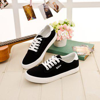 Women Simple Solid Design Flat Lacing Casual Shoes - BLACK 35