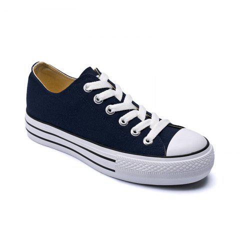 Women Sneakers Classic Solid Color Lace Up Canvas Shoes - CERULEAN 34
