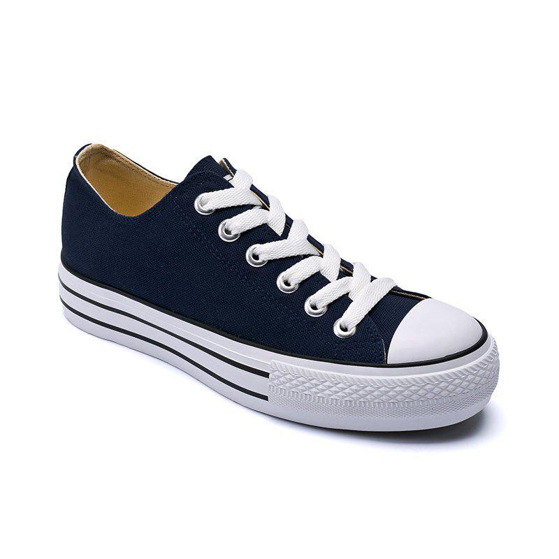 Women Sneakers Classic Solid Color Lace Up Canvas Shoes - CERULEAN 35