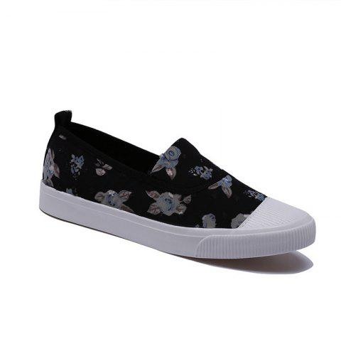Summer Breathable Shallow Mouth Floral Canvas Low Slip-On Flat Shoes - BLACK 39